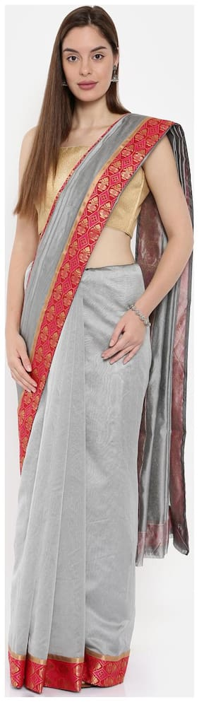 The Chennai Silks Chanderi Cotton Saree Grey