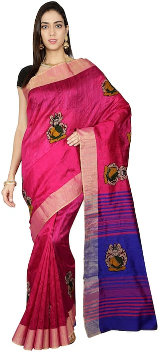 The Chennai Silks - Kalamkari Dupion Silk Saree - Very Bery Pink - (CCOPFS9439)