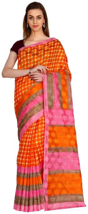 The Chennai Silks - Bhagalpuri Synthetic Saree - Autumn Glory Orange - (CCMYSY6922)