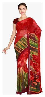 The Chennai Silks - Beautiful Grace Printed Georgette Saree - Pompeian Red - (CCOPSY7397)