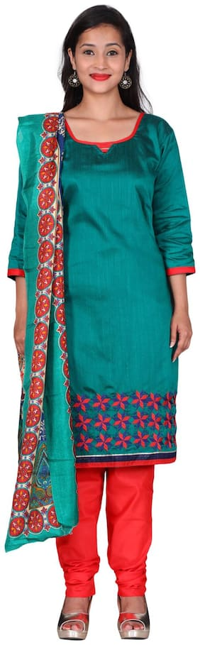 The Chennai Silks - Embroidered Cotton Dress Material - Green - (CDMCT1133)