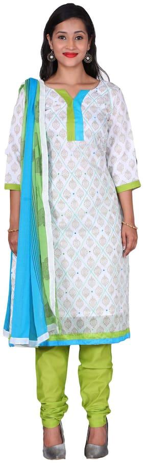The Chennai Silks - Block Print Chanderi Cotton Dress Material - White - (CDMCT1073)