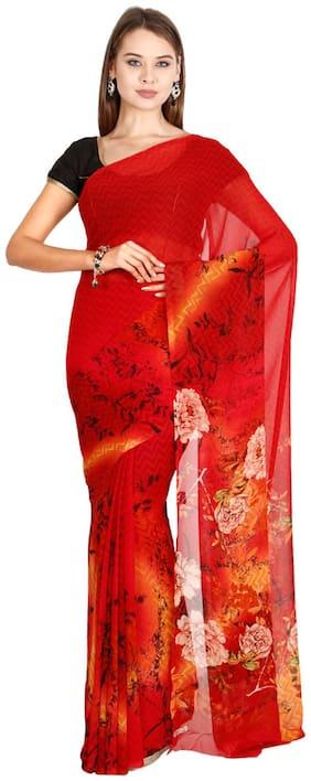 The Chennai Silks - Faux Georgette Saree - Salsa Red - (CCMYSY7032)