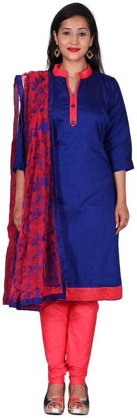 The Chennai Silks - Cotton Dress Material With Patch Work - Navy Blue - (CDMCT1157)