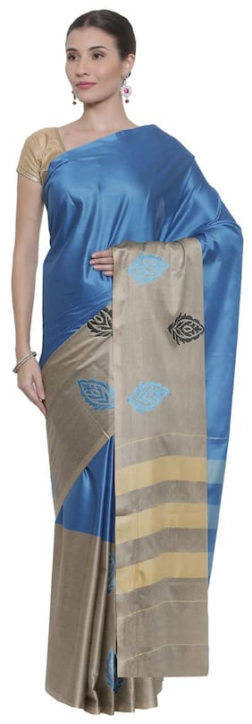 The Chennai Silks Cotton Universal Embroidered work Saree - Blue , With blouse