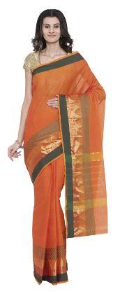 The Chennai Silks - Chettinad Cotton Saree - Celosia Orange - (CCMYSC7942)