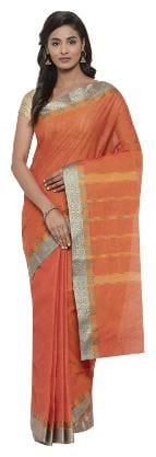 The Chennai Silks - Chettinad Cotton Saree - Jaffa Orange - (CCMYSC7992)