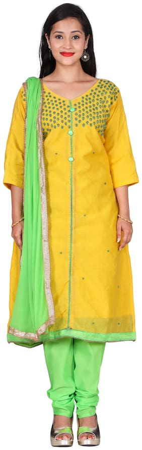 The Chennai Silks - Embellished Chanderi Cotton Dress Material - Yellow - (CDMCT1027)