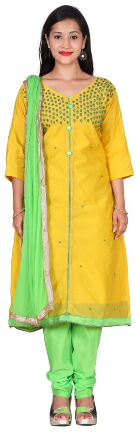 The Chennai Silks Cotton Floral Dress Material - Yellow