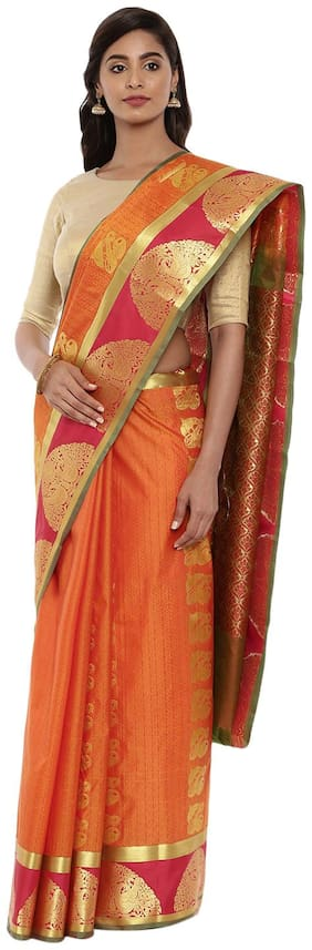 The Chennai Silks Silk Universal Zari work Saree - Orange , With blouse