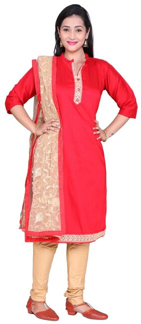 The Chennai Silks Cotton Printed Dress Material - Red