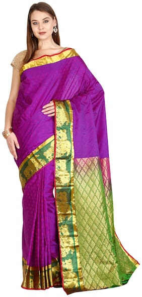 The Chennai Silks - Kanjivaram Silk saree - Vivid Viola Purple - (CCMYSS6289)