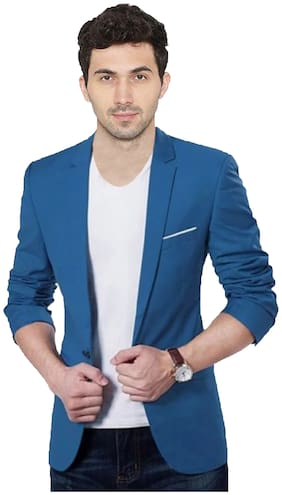 the club Solid Single Breasted Party, Casual, Festive Men Blazer  dark blue