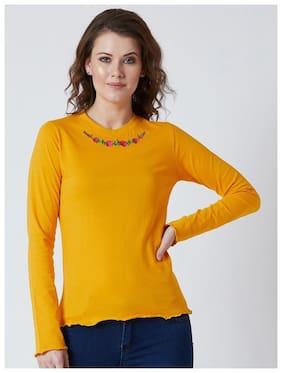 Women Embroidered Round Neck Top