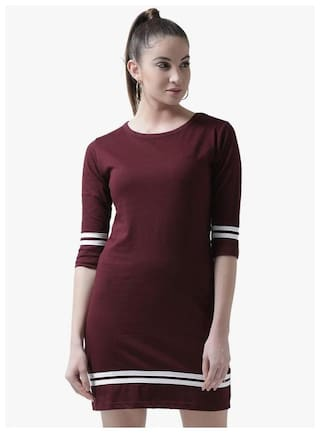 THE DRY STATE Maroon Solid A-line dress