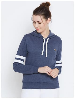 THE DRY STATE Women Solid Hoodie - Blue