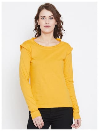 THE DRY STATE Women Yellow Slim fit Round neck Cotton T shirt