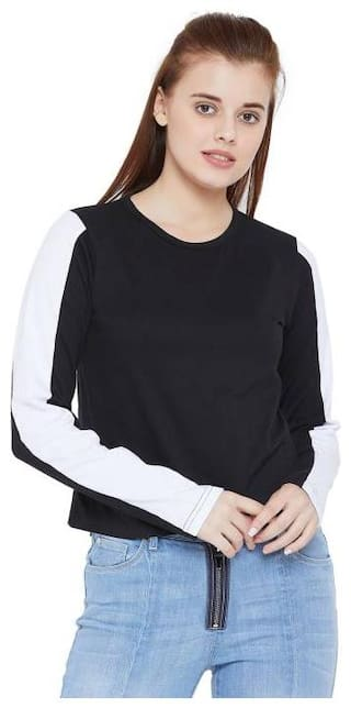 THE DRY STATE Women Black & White Slim fit Round neck Cotton T shirt