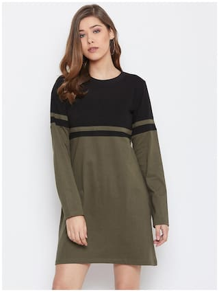 THE DRY STATE Black & Grey Colorblocked T shirt dress