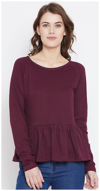 THE DRY STATE Women Solid Regular top - Maroon