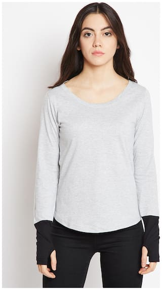 THE DRY STATE Women Grey Slim fit Round neck Cotton T shirt