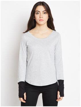 THE DRY STATE Solid Grey T Shirt