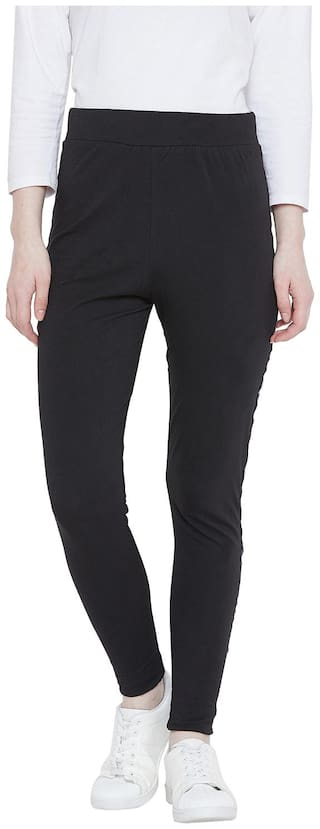 The Dry State Women's Solid Black Track Pants