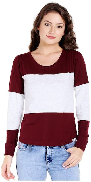 THE DRY STATE Women Striped Round neck T shirt - Maroon