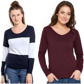 THE DRY STATE Women Colorblocked & Solid Round neck T shirt - Multi & Maroon