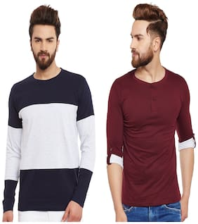 Men Round Neck;Henley Neck Colorblocked T-Shirt