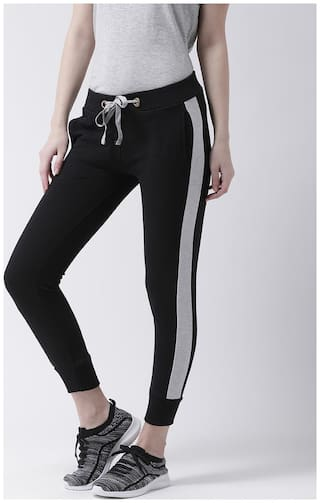 THE DRY STATE Women Regular fit Cotton Solid Track pants - Black