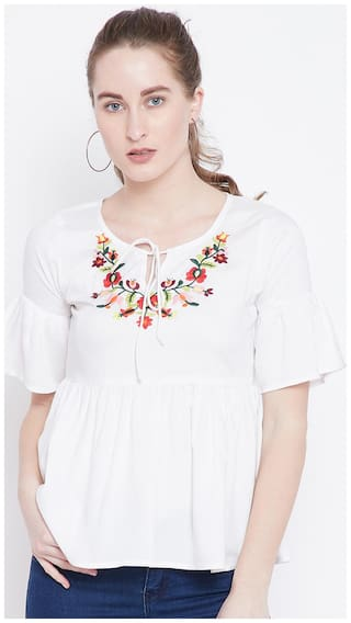 THE DRY STATE Women Rayon Embroidered - Regular top White