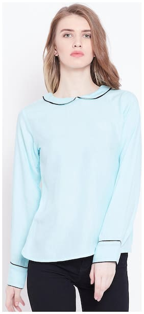 Women Solid Peter Pan Neck Top