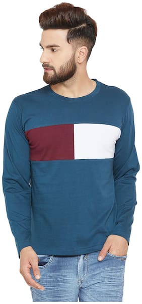 Men Round Neck Colorblocked T-Shirt
