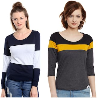 THE DRY STATE Women Multi Slim fit Round neck Cotton T shirt