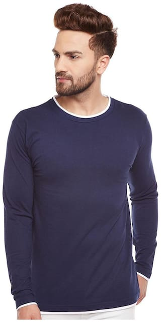 THE DRY STATE Men Blue Slim fit Cotton Round neck T-Shirt - Pack Of 1