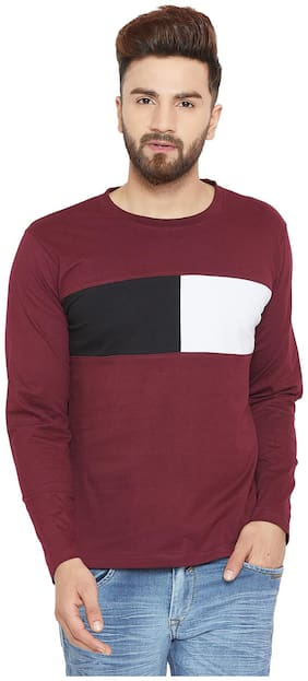 The Dry State Men's Round Neck Full Sleeve Colorblocked Multicolor T-Shirt