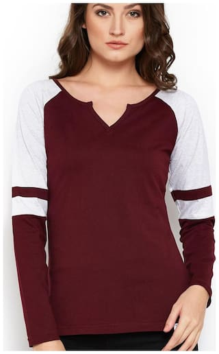 THE DRY STATE Women Solid V neck T shirt - Maroon