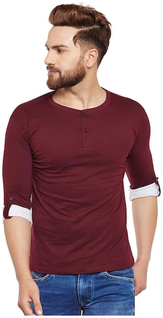 THE DRY STATE Men Maroon Slim fit Cotton Henley neck T-Shirt - Pack Of 1