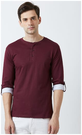 THE DRY STATE Men Burgundy Slim fit Cotton Round neck T-Shirt - Pack Of 1