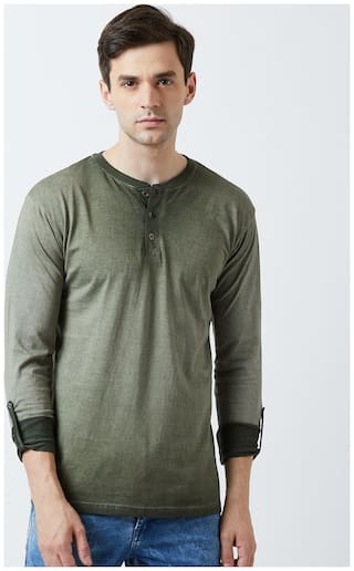 THE DRY STATE Men Green Slim fit Cotton Henley neck T-Shirt - Pack Of 1