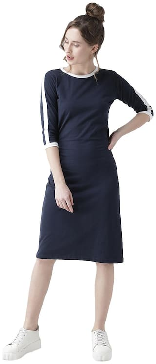 THE DRY STATE Cotton Solid Bodycon Dress Blue