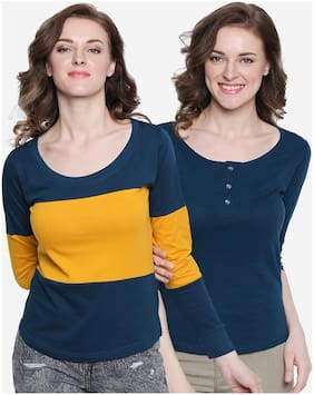 THE DRY STATE Women Colorblocked & Solid Round neck & Henley neck T shirt - Multi & Blue