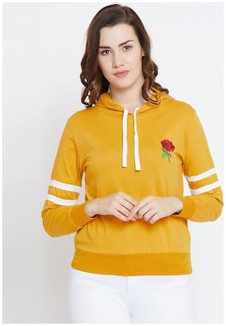 THE DRY STATE Women Self design Hoodie - Yellow