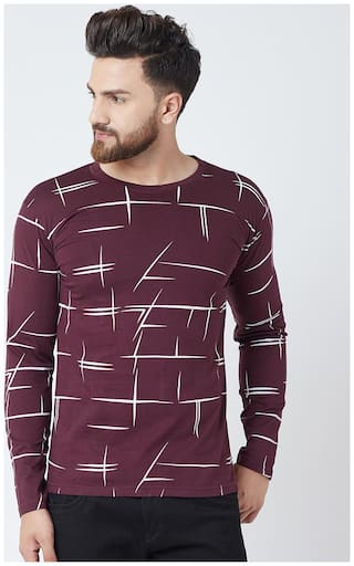 The Dry State  Men's Round Neck Full Sleeve Maroon Cotton T-Shirt
