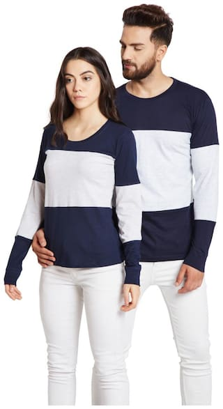 The Dry State Couple's Round Neck Full Sleeves Striped Multicolor T-Shirts