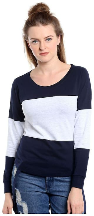THE DRY STATE Women White Slim fit Round neck Cotton T shirt