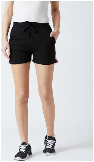 THE DRY STATE Women Solid Sport shorts - Black