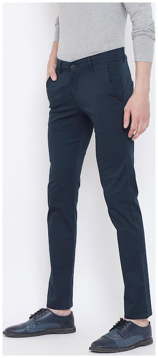 The Dry State Men's Navy Blue Cotton Trouser