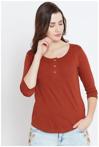THE DRY STATE Women Solid Henley neck T shirt - Red